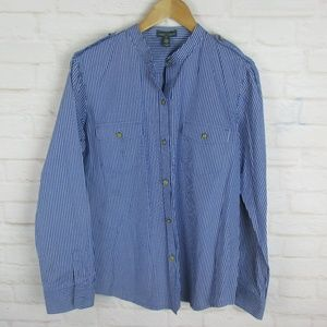 Ralph Lauren Blue and White Striped Button Up